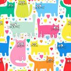 Süße Katzen Nahtloses Vektormuster