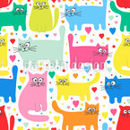 Gatos dulces Estampado Vectorial Sin Costura