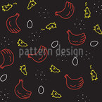 Chicken Life Circle Seamless Vector Pattern Design