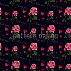 Rose Love Confissão Design de padrão vetorial sem costura