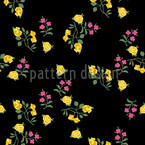 Scattered Flowers On Black Seamless Vector Pattern Design