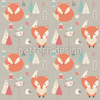Baby Foxes Seamless Vector Pattern Design