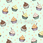 Cupcake Stars Seamless Vector Pattern Design