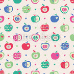 Apples And Hearts Seamless Vector Pattern Design