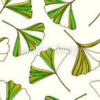 Striped Ginkgo Leaves Seamless Pattern