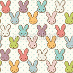 Cute Bunny Seamless Vector Pattern Design