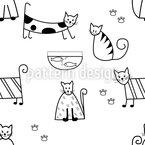 Gatos engraçados Design de padrão vetorial sem costura