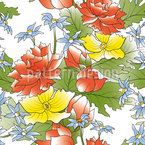 Asian Flower Bouquet Seamless Vector Pattern Design