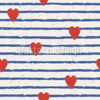 Sailor In Love Seamless Vector Pattern