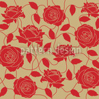 Briar Rose Red And Brown Seamless Vector Pattern Design