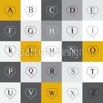 Letras em formas de diamante Design de padrão vetorial sem costura