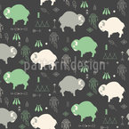 Cute Baby Buffaloes Seamless Vector Pattern Design