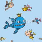Fisch Märchen Nahtloses Vektormuster