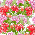 Bouquet Of Peonies Seamless Vector Pattern Design