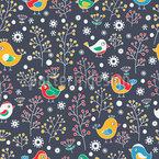 Vögel Lieben Beeren Nahtloses Vektormuster
