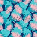 Palmen Und Monstera-Blätter Nahtloses Vektormuster