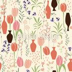 Tulpen und Vasen Nahtloses Vektormuster
