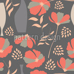 Poppies And Vases Seamless Vector Pattern Design