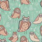 Owls In The Forest Seamless Vector Pattern Design