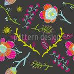 Frühlingsblumen Bei Nacht Nahtloses Vektormuster