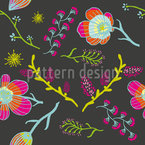 Spring Flowers At Night Seamless Vector Pattern Design