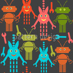 Cute Robots Seamless Vector Pattern Design
