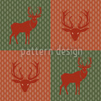 The Forest King Red Green Seamless Pattern