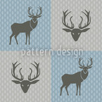 The Forest King Blue Seamless Vector Pattern Design