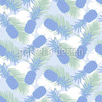 Pineapple And Palm Leaves Seamless Vector Pattern Design