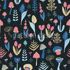 Night Forest Flora Seamless Vector Pattern Design