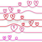 Heart Waves Seamless Vector Pattern Design