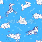 Good Night My Animal Friends Seamless Vector Pattern Design