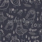Hooo-hooo Seamless Vector Pattern Design