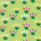 Crocus Field Seamless Vector Pattern Design