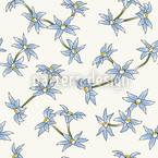 Blue Rain Flowers Seamless Vector Pattern Design