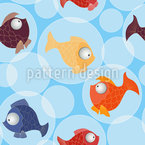 Fish Bubbles Seamless Vector Pattern Design
