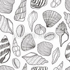 Outline Seashells Seamless Vector Pattern Design