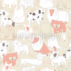 Dogs Meeting Seamless Vector Pattern Design