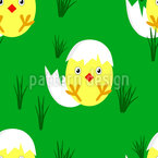 Little Chick Freshly Hatched Seamless Vector Pattern Design