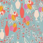 Blumen und Vasen Nahtloses Vektor Muster
