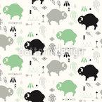 Ach Du Kleiner Büffel Nahtloses Vektor Muster