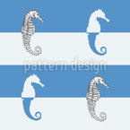 Seahorses On Blue Stripes Seamless Vector Pattern Design