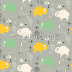 Sweet Baby Buffaloes Vector Pattern