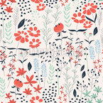 Magical Spring Garden Seamless Vector Pattern Design