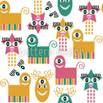 Crazy Monsters Seamless Vector Pattern Design