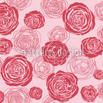 Rose Blooms Red-Pink Seamless Vector Pattern Design