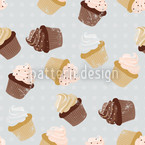 Cupcakes Grey Seamless Vector Pattern