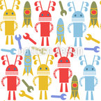 Robots and Rockets Seamless Vector Pattern Design