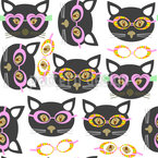 Hipster Cats Seamless Vector Pattern Design