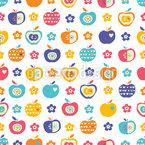 Яблоки и цветы Бесшовный дизайн векторных узоров